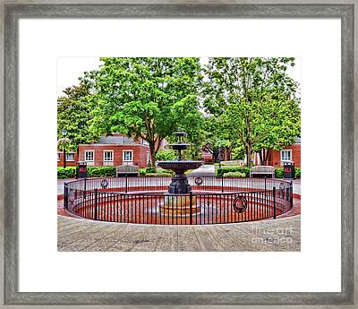 Framed Print featuring the photograph The Fountain At Radford University by Kerri Farley