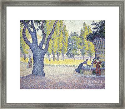 The Fountain Des Lices In St. Tropez Framed Print by Celestial Images