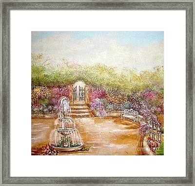 The Fountain Framed Print by Elizabeth Gomez