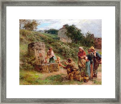 The Fountain Framed Print by Leon Augustin Lhermitte