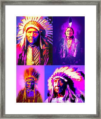 The Four Chiefs Three Horses Sitting Bull Geronimo Red Cloud Framed Print by Wingsdomain Art and Photography