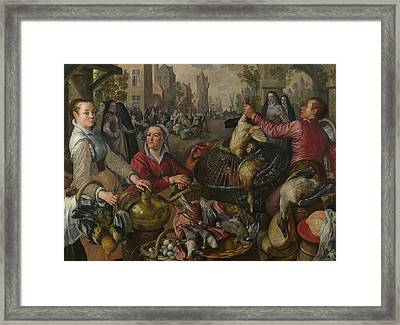 The Four Elements - Air. A Poultry Market With The Prodigal Son In The Background Framed Print