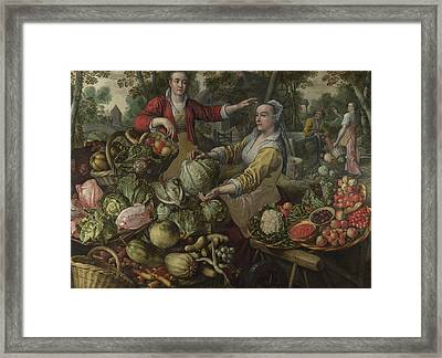 The Four Elements - Earth. A Fruit And Vegetable Market With The Flight Into Egypt In The Background Framed Print by Joachim Beuckelaer