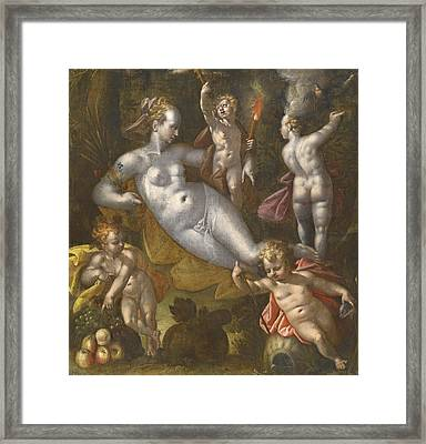 The Four Elements Framed Print by Follower of  Bartholomeus Spranger