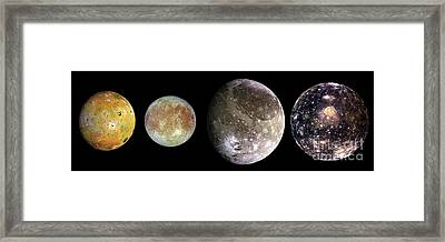 The Four Largest Moons Of Jupiter, Galilean Satellites, Space Framed Print by Tina Lavoie
