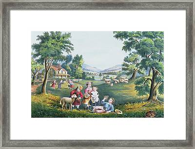 The Four Seasons Of Life Childhood Framed Print by Currier and Ives