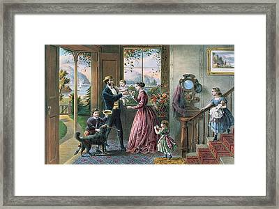 The Four Seasons Of Life  Middle Age Framed Print by Currier and Ives
