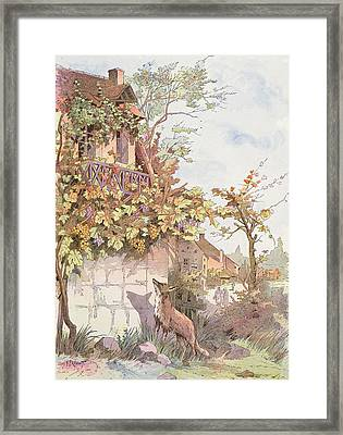 The Fox And The Grapes Framed Print by Georges Fraipont
