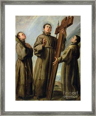 The Franciscan Martyrs In Japan Framed Print by Don Juan Carreno de Miranda