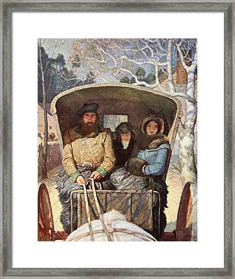 The Fraser Family Dressed Up Warm In The Horsedrawn Carriage Framed Print by Newell Convers Wyeth