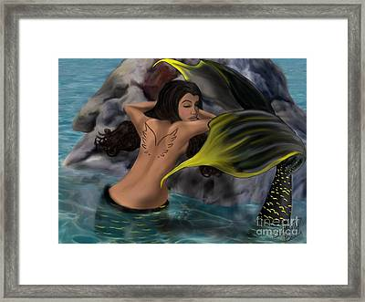 The French Angel Fish Framed Print by Cayman Mermaid Bubbles