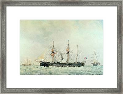 The French Battleship Framed Print by Francois Geoffroy Roux