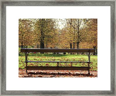 Framed Print featuring the photograph The French Bench And The Autumn by Yoel Koskas
