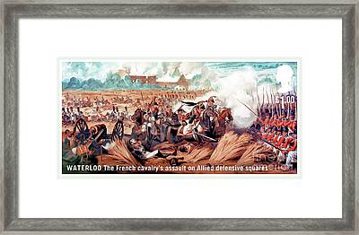The French Cavalry's Assault On Allied Defensive Squares Framed Print by Lanjee Chee
