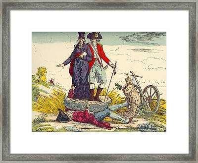 The French Farmer Crushed By Taxes Framed Print by Vintage Design Pics