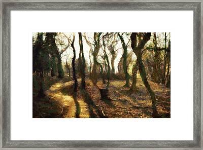 Framed Print featuring the digital art The Frightening Forest by Gun Legler