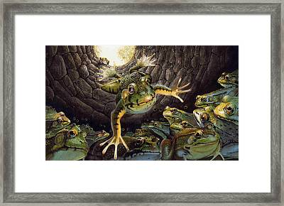 The Frog And The Well Framed Print by Denny Bond