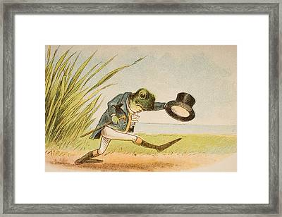 The Frog Who Would A Wooing Go From Old Framed Print by Vintage Design Pics