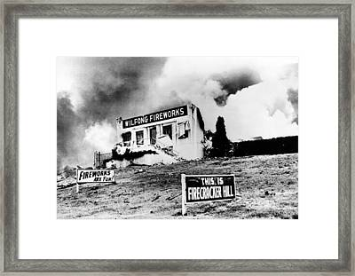 The Front Wall Of The Wilfong Fireworks Framed Print
