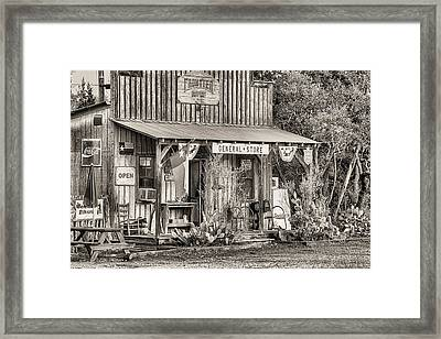 The Frontier Outpost General Store Black And White Framed Print by JC Findley