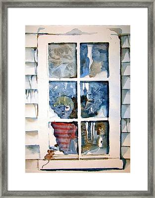 The Frosty Peep Hole Framed Print by Mindy Newman