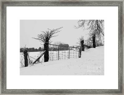 The Frozen Gate Black And White Framed Print by Cathy  Beharriell