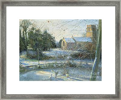 The Frozen Moat - Bedfield Framed Print by Timothy Easton