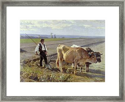 The Furrow Framed Print by Edouard Debat-Ponsan