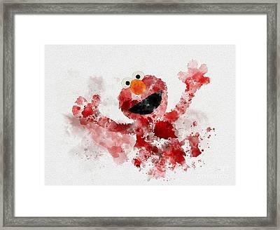 The Furry Red Monster Framed Print