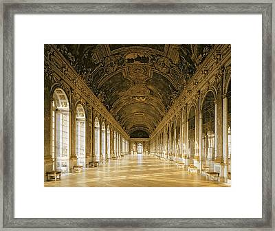 The Galerie Des Glaces  Hall Of Mirrors  Versailles Framed Print by Jules Hardouin Mansart