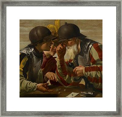 The Gamblers Framed Print by Hendrick Ter Brugghen