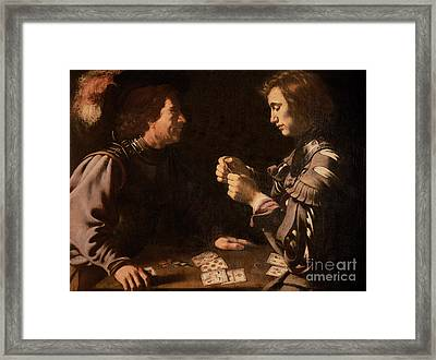 The Gamblers Framed Print by Michelangelo Caravaggio
