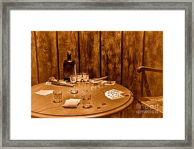 The Gambling Table - Sepia Framed Print by Olivier Le Queinec