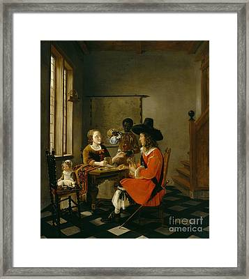 The Game Of Cards Framed Print by Hendrik van der Burch
