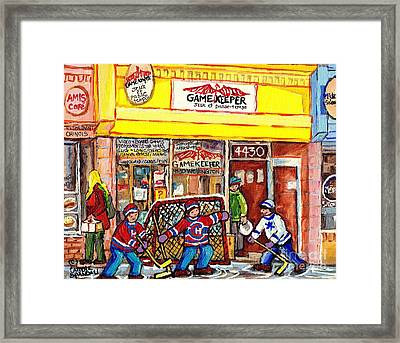 The Gamekeeper Verdun Montreal Art Shops And Store Front Painting Hockey Goalie Scene Carole Spandau Framed Print by Carole Spandau