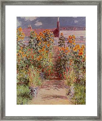 The Garden At Vetheuil Framed Print by Claude Monet