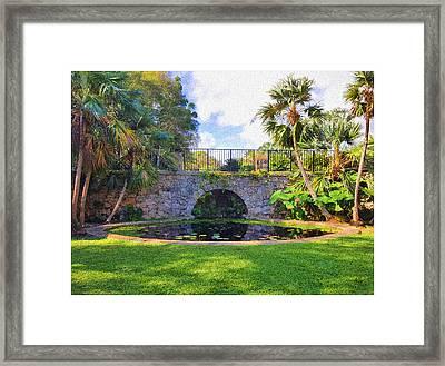 The Garden Bridge Framed Print by Edier C