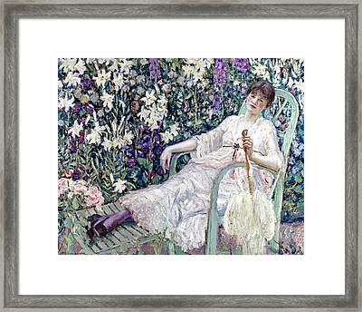 The Garden Chair Framed Print by Frederick Carl Frieseke