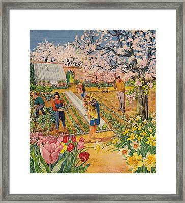 The Garden In Spring Framed Print by English School