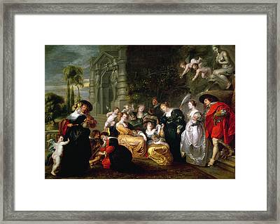 The Garden Of Love Framed Print by Peter Paul Rubens