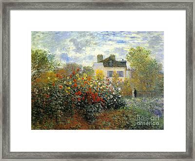 The Garden Of Monet At Argenteuil Framed Print by Monet
