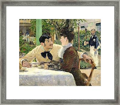 The Garden Of Pere Lathuille Framed Print by Edouard Manet