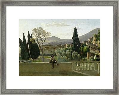 The Gardens Of The Villa Deste Framed Print by Jean Baptiste Camill  Corot