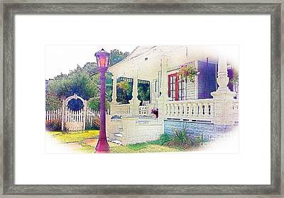 The Gate Porch And The Lamp Post Framed Print