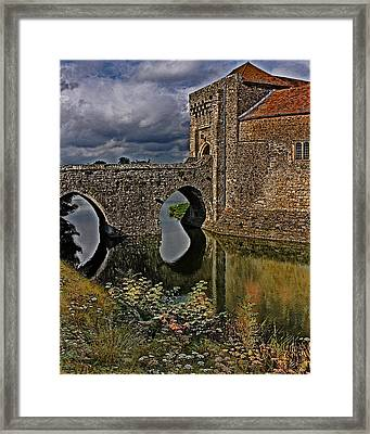 The Gatehouse And Moat At Leeds Castle Framed Print by Chris Lord