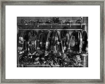 The Gear Of Heroes - Firemen - Fire Station Framed Print by Lee Dos Santos