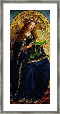 The Ghent Altarpiece The Virgin Mary Framed Print by Jan and Hubert Van Eyck