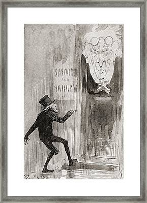 The Ghostly Knocker. It Was Not Angry Framed Print by Vintage Design Pics