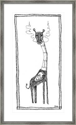 The Giraffe And The Rat Framed Print by Zelde Grimm