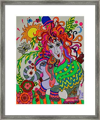 The Girl And The Elephant Framed Print